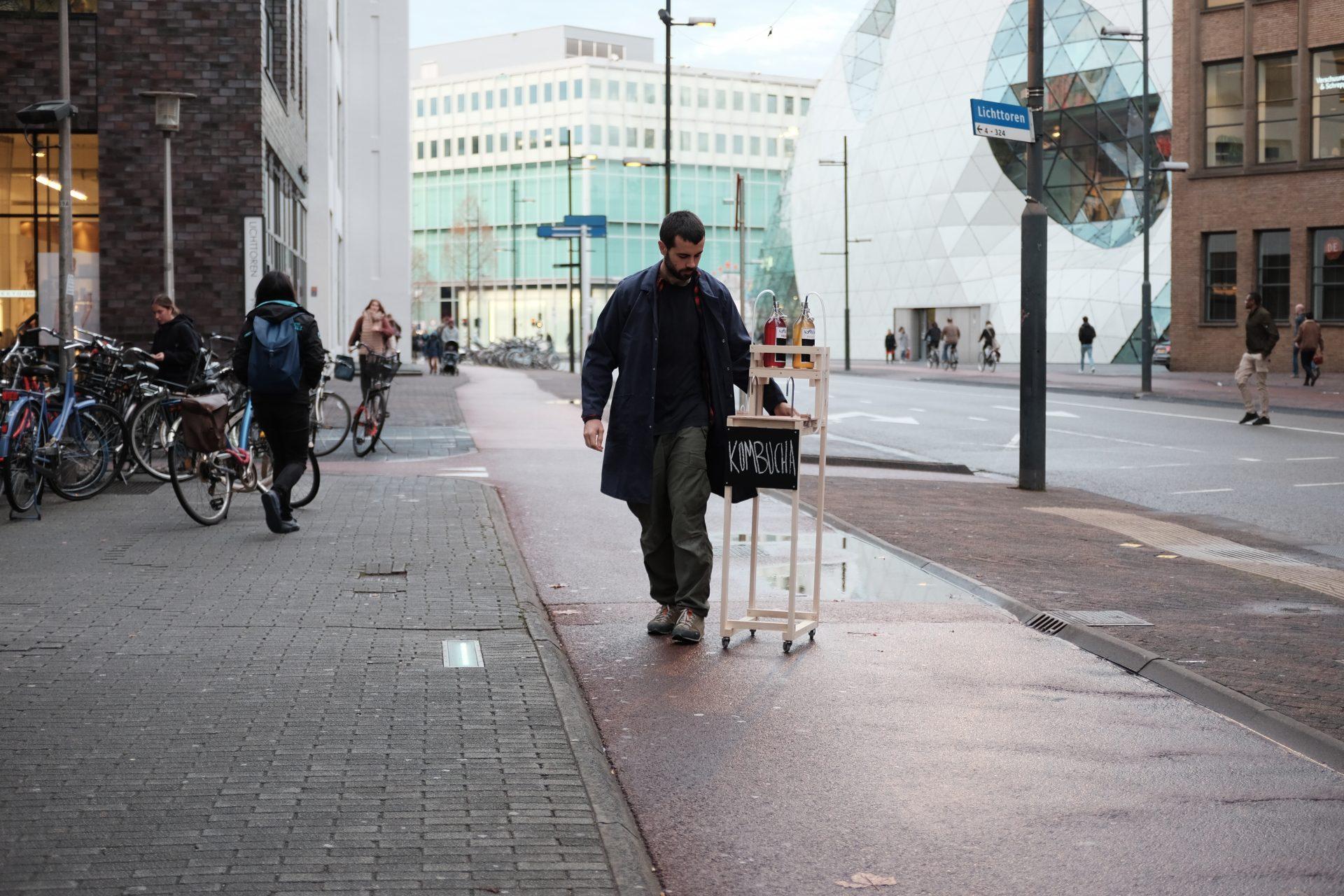 Kombucha Tapping Prototype on sidewalk
